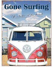 VW Bulli Bus - Gone Surfing -  Wellenreiten Metall Deko Plakat