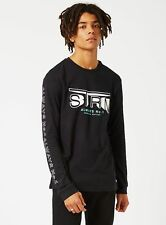 Black cotton long sleeve top with graphic print from Topman size s m l xl & 2xl