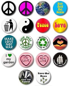 """PEACE & LOVE   - 1"""" / 25mm Button Badge - Novelty Environment"""