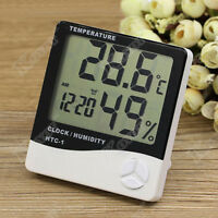 Digital LCD Temperature Humidity Meter Clock Indoor Hygrometer Thermometer EN