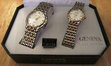 Men's & Women's GENEVA Classic Collection Quartz Gold & Silver Toned Watch Set