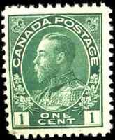 Canada #104 mint F-VF OG NH 1911 King George V 1c dark green Admiral CV$70.00
