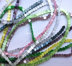 6mm Fiber Optical Cat's Eyes Heart Beads 16in strand various colors SALE(78 pcs)