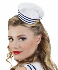 Womens Tiara Headband Mini Sailor Hat Blue/White Nautical Fancy Dress Hen Party