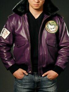 Batman Joker Goon Bomber Purple Leather Jacket