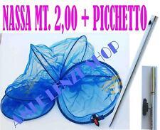 nassa pesca rete porta pesci mt. 2 retino trota lago + picchetto regolabile palo