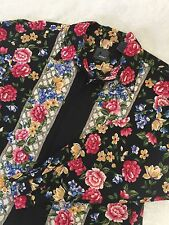 NEW Size L LIZ CLAIBORNE Black Pink Blue Floral Long Sleeve Vtg Button Shirt