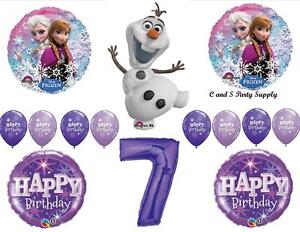 FROZEN OLAF PURPLE 7th HAPPY BIRTHDAY PARTY BALLOONS Decorations Supplies Snow