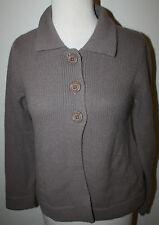Cyrillus Dusty Purple Gray Lambswool Angora Ls Cardigan Sweater Nwot S