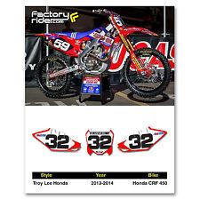 2013-2016 HONDA CRF 450 Troy Lee Design Number Plate Graphics By Enjoy Mfg