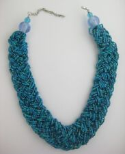 """New 18"""" Woven Blue Turquoise Glass Seed Bead Necklace NWT #N2348"""