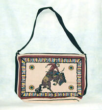 "Purse Handbag Bronco Rider Design Cotton Canvas 13x19"" Zips close"