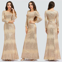 Ever-Pretty US Long Sleeve Formal Cocktail Dress Sequins Party Evening Gown 0852