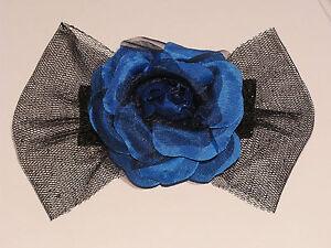 1 X Pince Barrette Accessoire à cheveux Nœud fleur bleu 14 cm★Fait main