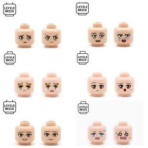 ⎡LEYILE BRICK⎦ Custom Minifigure Manga Series Head Pieces, Set Of 6