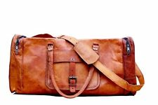 Men's Genuine Real Pure Leather Overnight Travelling Gym Bag Luggage Duffle Bags