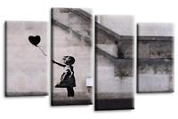 BANKSY ART CANVAS PICTURE BLACK GREY BALLOON GIRL WALL 4 PANEL 112 cm