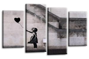 Le Reve BANKSY ART CANVAS PICTURE BLACK GREY BALLOON GIRL WALL 4 PANEL 112 cm