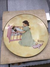 """New ListingNorman Rockwell The American Family Series Little Mother 8 3/4"""" plate w/stand"""