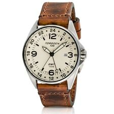 New Torgoen Swiss T25 Men's Dual Time Cream Face 41mm Case Pilot Watch T25CR41V
