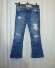 Women's HOLLISTER CALI FLARE blue ripped distressed jeans sz 0 R great co LOVELY