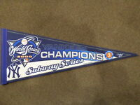2000 NEW YORK YANKEES WORLD SERIES CHAMPIONS SUBWAY SERIES 3 IN A ROW PENNANT