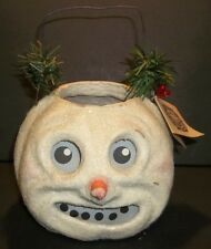 Seasons Gone By Snowman Head Jack O Lantern Paper Mache Bucket Old Style Signed