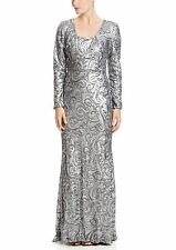 Badgley Mischka Long Sleeve Silver Swirl Sequin Gown Prom Dress Hijab $695