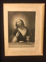 Antique Catholic Book Engraving - Jesus / Last Supper