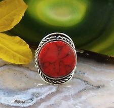 Anello alpaca argento Howlith rosso pietre etnico INDIANA INCA MAYA STILE 3