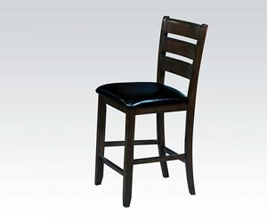 Stylish Elegant Dining Room Urbana Counter Height Chair Espresso Finish Black PU