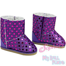 Purple Boots Sequins Winter Shoes made for 18 inch American Girl Doll Clothes