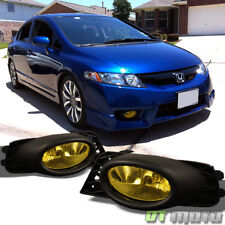For 2009-2011 Honda Civic 4dr Sedan Bumper Yellow Fog Lights Lamps Left+Right