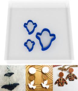 MINI/TINY 1.5CM/2CM/3CM Ghost Polymer Clay Cutter Set of 3 Craft Kit Halloween