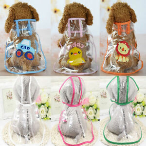 Pet Dog Rain Coat Jacket Transparent Puppy Waterproof Hooded Clothes Raincoat