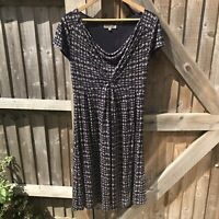 Jigsaw Navy Mix Printed Short Sleeve Jersey Midi Dress Size M / UK 12 VGC