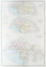 VECCHIO Antico Mondo Mappa Antica MONDE c1850's da Belin/DRIOUX/Leroy