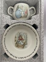 Wedgwood Porcelain Peter Rabbit Two Handle Mug and Oat Meal Bowl, England NEW