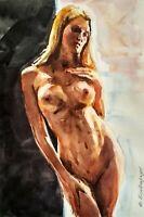 Original Art Drawing Watercolor Format A-4 Paper Nudity Nature Woman Girl Nude