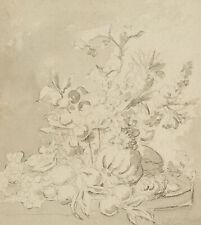 J.MOREL(*1769), Früchtestillleben, um 1780, Kreide und Aquarell