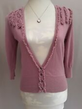 GORGEOUS MONSOON SOFT PINK ANGORA MIX FRONT FRILLY BUTTONED CARDIGAN SIZE 10