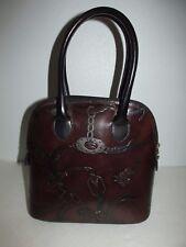 Italian Made Equestrian Print Leather Small Dome Satchel Handbag