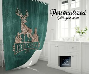 Personalized Green Rustic Deer Shower Curtain   Hunting, Cottage, Woodland