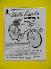 1951 WORLD TRAVELER BY SCHWINN ~ BIKE SALES ART AD