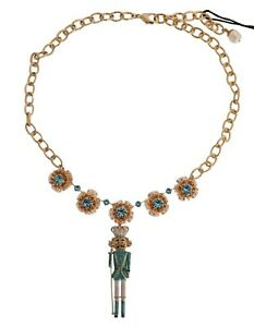 DOLCE & GABBANA Necklace Gold Brass Handpainted Crystal Pupi Siciliani RRP $1300