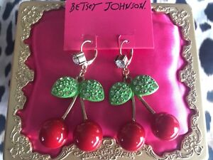 Betsey Johnson Vintage Picnic HUGE Red Lucite Cherry Cherries Earrings NOS RARE
