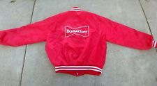 VINTAGE BUDWEISER JACKET LARGE  RED SATIN  PATCH  LOGO BACK  80'S EMPLOYEE