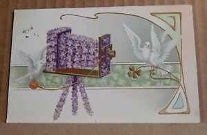 Postcard Art Nouveau Greetings Card Flowers & Doves posted 1907