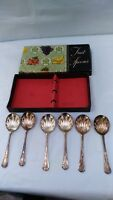 Vintage Silver Plated Marked Fruit Desert Spoons Set 6 Floral Pattern Beautiful