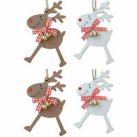 Set of 4 Wooden Christmas Tree Decorations - Reindeer with Bells